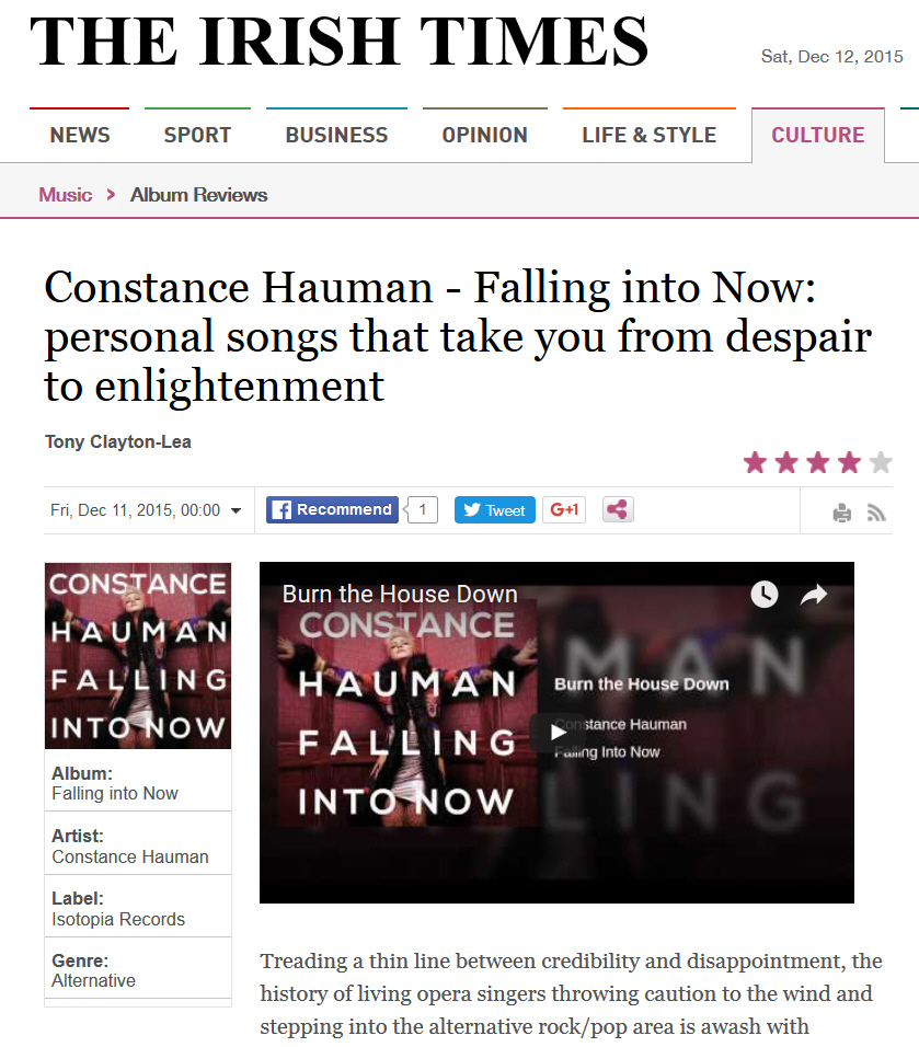 Constance Hauman - Falling into Now - Personal songs that take you from despair to enlightenment - Irish Times Review 12-12-15
