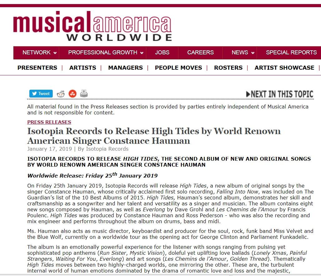 Constance Hauman High Tides Musical America 1-17-2019